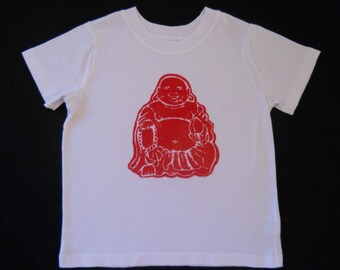 SALE Buddha meditation clothing Eco kids organic cotton boy t shirt boys clothing batik Eco friendly hand painted boy top white size 2 to 12