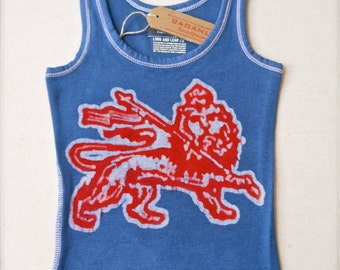Lion of Judah Batik ribbed Tank Top women hand painted blue Sz XS, S, M, L, XL,XXL