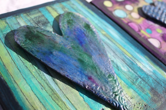 Lime Green and Cobalt teal Striped Sweet HeART Wall Hanging by Jodi Ohl  Reclaimed wood