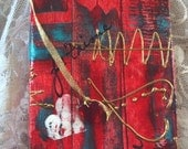 JOURNAL/SKETCHBOOK, Abstract Art on Canvas, HEARTS, Pockets, and Beaded Bookmark