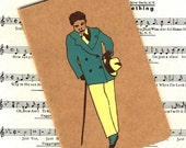 SALE Grandpa Charlie Moleskine Journal -- Jazz Age New York City Art Deco Men Boys Dandy Cane Zoot Suit Gangster