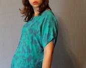 Vintage 100% silk gem -teal and blue tie dye-