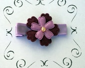The Clip Fairy Boutique Purple Two-Tiered Flower Hair Clip
