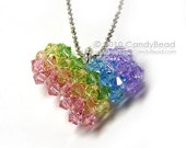 Sweet rainbow heart Swarovski crystals pendant necklace by CandyBead