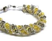 Swarovski bracelet, Yellow and Gray Twisty Bracelet