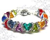 Swarovski Bracelet, Dark Rainbow Crystal Cuff Bracelet by CandyBead