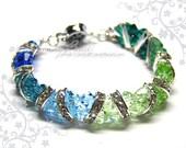 Swarovski Bracelet, Gorgeous Blue and Green Crystal Cuff Bracelet by CandyBead