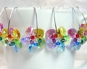 Swarovski earrings, Sweet Rainbow Flowers Swarovski Crystal Earrings - Best seller (E015-06)