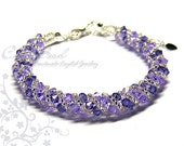 Purple and Lavender Twisty Swarovski Crystal Bracelet by CandyBead