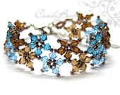 Crystal Bracelet, Sweet Brown and Blue Multiflora Swarovski Crystals Bracelet by CandyBead