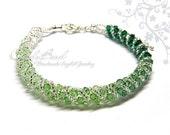 Swarovski Bracelet, Green Shade Twisty Swarovski Crystal Bracelet by CandyBead (B046-48)