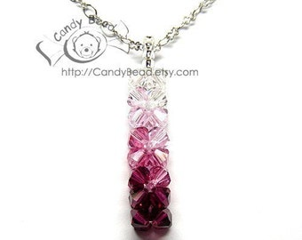Swarovski necklace;crystal necklace;Pink Shade Pendants Necklace