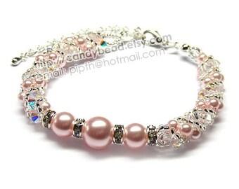 Sweet Pink Twisty Swarovski Pearl Bracelet by CandyBead
