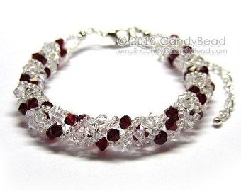 Dark Red and White Sweety Twisty Swarovski Crystal Bracelet by CandyBead