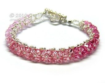 Pink and Rose Swarovski Crystal Bracelet with Silver Toggle Clasp by CandyBead