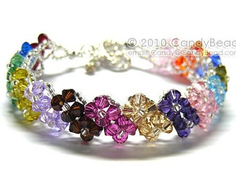Multi-colors Swarovski Crystal Bracelet with Silver toggle clasp by CandyBead