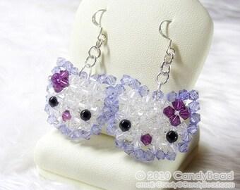 Swarovski earrings;crystal earrings;Violet Kitty Sparkling Swarovski Crystal Earrings by CandyBead