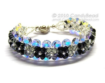Blink Black Diamond Swarovski Crystal Bracelet with silver button clasp by CandyBead