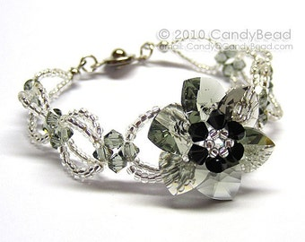 Sparkling Black Diamond Flower Swarovski Crystal Bracelet by CandyBead