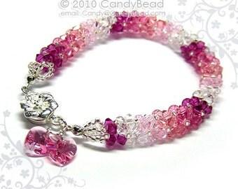 Swarovski bracelet, Luxurious Rosy Shade Swarovski Crystal Bracelet with Floral Magnetic clasp by CandyBead