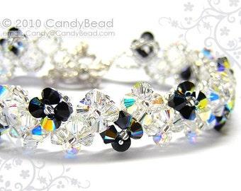 Sparkling White AB & Jet AB Zig Zag Swarovski Crystal Bracelet by CandyBead