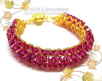 Swarovski bracelet, Fuchsia Swarovski Crystal Bracelet by CandyBead