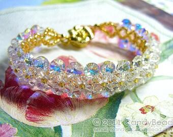 Swarovski Bracelet, Gold and White Swarovski Crystal Bracelet by CandyBead