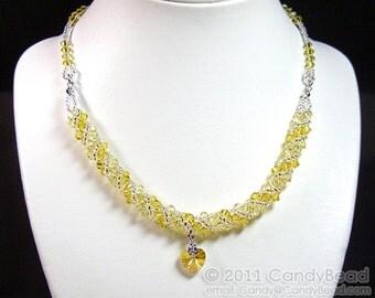 Light Topaz Twisty Swarovski Crystal Necklace by CandyBead