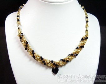 Black and Yellow Twisty Swarovski Crystal Necklace by CandyBead