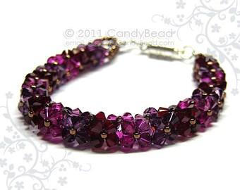 Crystal bracelet; Swarovski bracelet; Glass bracelet;Luxurious Dark Fuchsia Swarovski Crystal Bracelet
