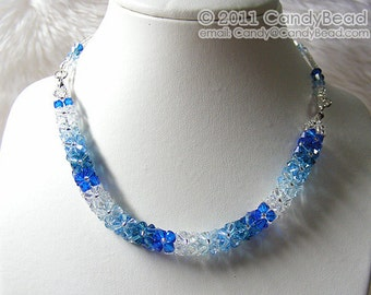 Swarovski Crystal Necklace, Luxurious Blue Shade Crystals Necklace by CandyBead