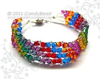 Rainbow bracelet; crystal bracelet; Swarovski bracelet; Glass bracelet;Hot Rainbow Swarovski Crystal Bracelet
