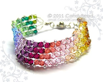 Rainbow bracelet; crystal bracelet; Swarovski bracelet; Glass bracelet;Simply Sweet Rainbow Swarovski Crystal Bracelet
