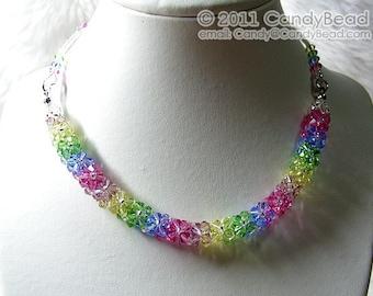 Swarovski Necklace, Luxurious Sweet Candy Shade Swarovski Crystal Necklace by CandyBead