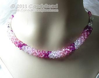 Swarovski necklace, Luxurious Rosy Shade Swarovski Crystal necklace by CandyBead