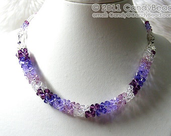 Luxurious Purple Shade Swarovski Crystal Necklace by CandyBead