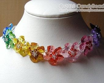 Swarovski necklace, Sweet Rainbow Flowers Swarovski Crystal Necklace by CandyBead - Best seller