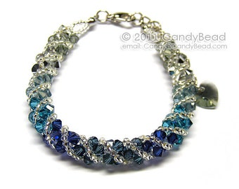 Swarovski bracelet, Silver Navy Blue twisty Swarovski Crystal Bracelet by CandyBead