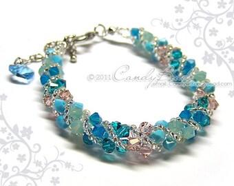Swarovski bracelet, Blue Opal and Turquoise twisty Swarovski Crystal Bracelet by CandyBead