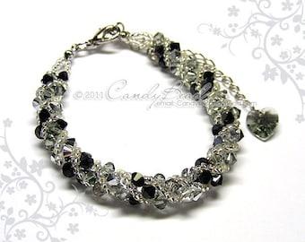 Swarovski bracelet, Silver Black twisty Swarovski Crystal Bracelet by CandyBead