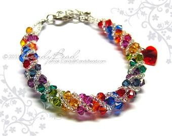 Rainbow bracelet; crystal bracelet; Swarovski bracelet; Glass bracelet;Dark rainbow twisty Swarovski Crystal Bracelet
