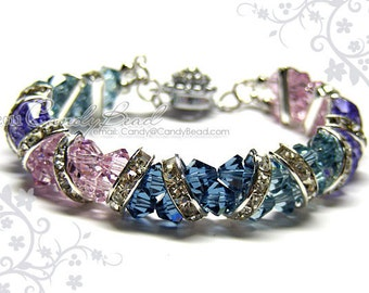 Swarovski Bracelet, Sweet Purple to Blue Crystal Cuff Bracelet by CandyBead