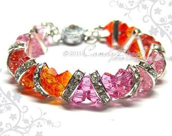 Swarovski Bracelet, Sweet Fire Pink Crystal Cuff Bracelet by CandyBead