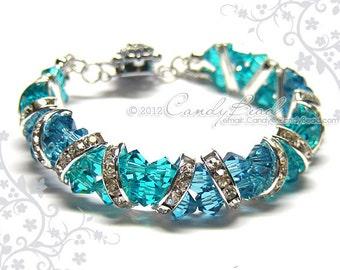 Swarovski Bracelet, Gorgeous Silver Teal Crystal Cuff Bracelet by CandyBead