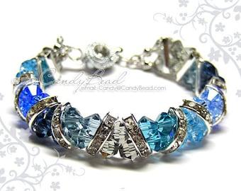 Swarovski Bracelet, Gorgeous Blue and Gray Crystal Cuff Bracelet by CandyBead