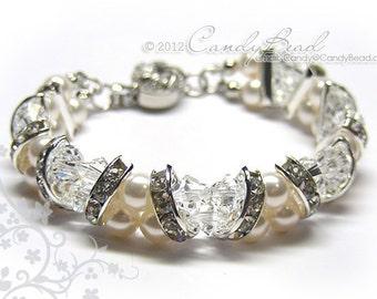 Crystal Bracelet; Swarovski Bracelet; Glass Bracelet; Swarovski Pearl Bracelet, White Crystal and White Pearl Cuff Bracelet by CandyBead