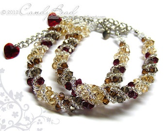 Swarovski bracelet, Neutral Brown Shade twisty Swarovski Crystal Bracelet by CandyBead - Sold individually
