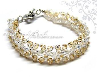 Swarovski Bracelet, Moonlight and Golden Shadow Bracelet by CandyBead