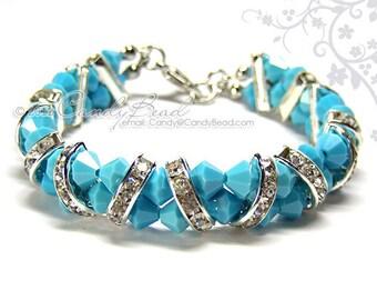 Swarovski Bracelet, Blue Turquoise Crystal Cuff Bracelet by CandyBead