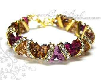 Swarovski Bracelet, Brown and Purple Crystal Cuff Bracelet by CandyBead